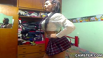 big tits &amp_ ass latin schoolgirl striptease out.