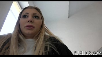 czech babe flashes her tits and screwed for.