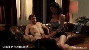 long legged brunette ladyboy gives handjob with sucking.