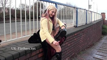 flashing blonde kaz masturbating in public and outdoor.