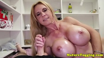 handjob milf makes cock cum pov.