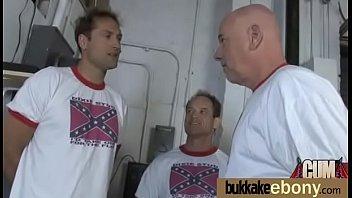 ebony slut gets an interracial group.