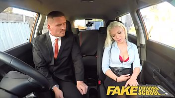 fake driving school busty blonde examiners sexual skills.