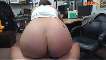 busty woman wearing eye glasses railed in the backroom