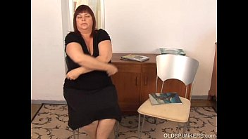 huge boobs old spunker plays with her fat.