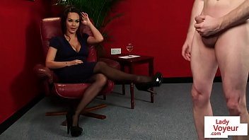 cfnm babe humiliates dude while giving.