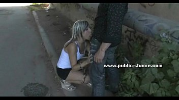 whore tied and masked in public.