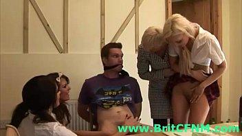 naughty british girls tease a cfnm.