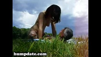 horny wife rides her hubby outdoor