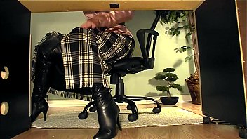 secretary with boots under desk masturbation.