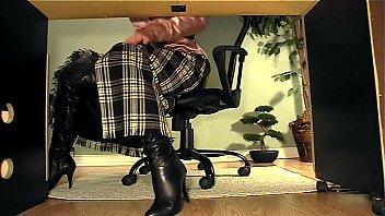 secretary with boots under desk masturbation.