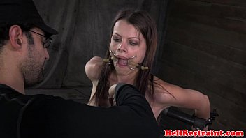 open mouth gagged sub tits roped