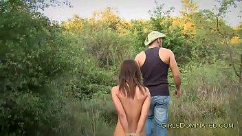 brunette teen bondaged outdoors