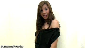 hairy thai ts model in black lingerie strokes.
