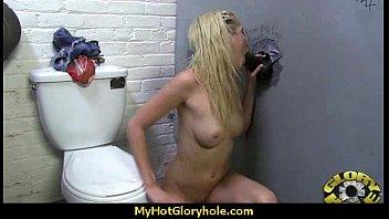 black chick gives gloryhole blowjob 7