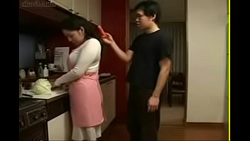 japanese mother an son in kitchen fun -.