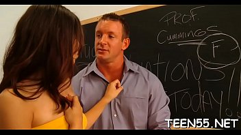 cute teen shows genuine interest in large throbbing pecker