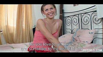 teen in pink lingerie teasing