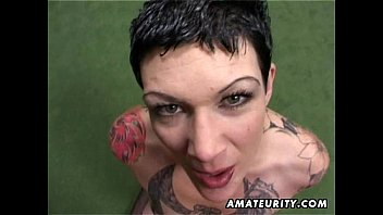 tattooed amateur milf homemade blowjob with.