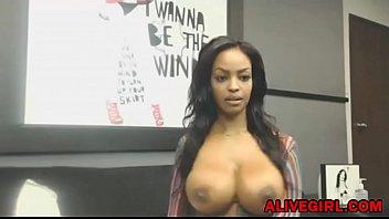 stunning ebony ravenxxx with huge boobs masturbates and.