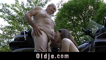young petite girl swallows old cum after grandpa.