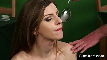flirty sex kitten gets jizz load on her.