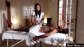 gorgeous beauty gives amazing massage