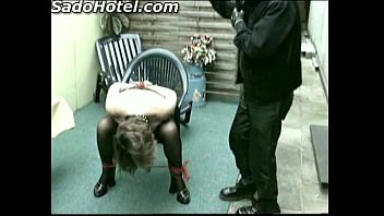 old slave with good tits tied to chair.