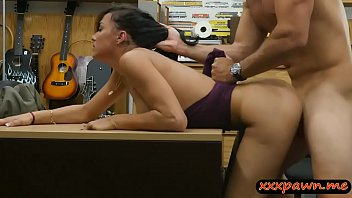 sexy amateur brunette lady gets screwed at the pawnshop
