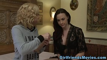 busty lesbian brunette