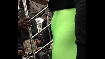 big booty seethrew leggings on train