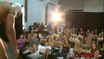 male-stripper with huge-dick gets group blowjobs at bachelorette party