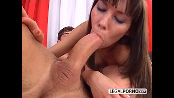 creampied ass in hard anal threesome.