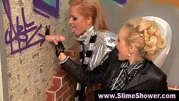 blonde sluts got a bukakke at the glory hole
