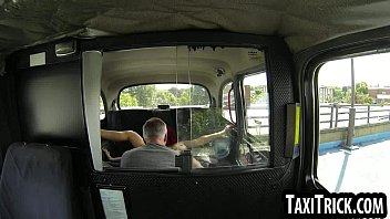 inked redhead babe sucking on her taxi drivers cock