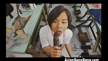 asian milcah halili sucks black dick in sweat.