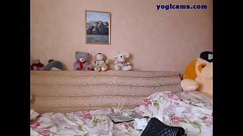 super hot blonde teen posing in front of webcam