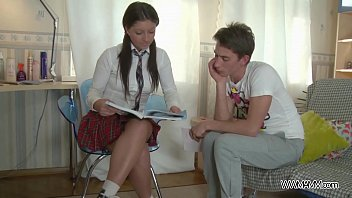 schoolgirl learn well &amp_ get punished ass with.