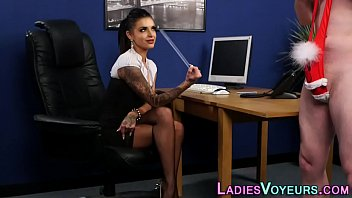 clothed babe watches jerk