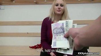 public dick sucking for cash with czech amateur.