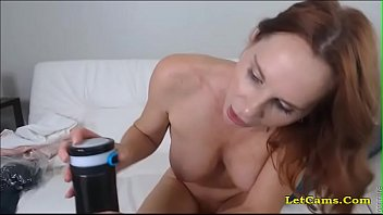sexy red-head milf play with dildo.