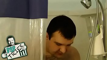 obese man masturbates in shower