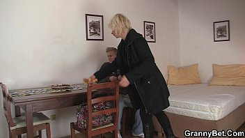 blonde old women pleases an young.