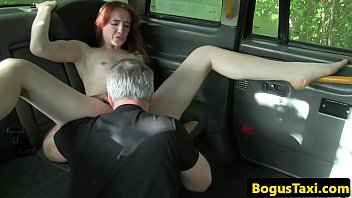 british redhead riding taxi drivers cock