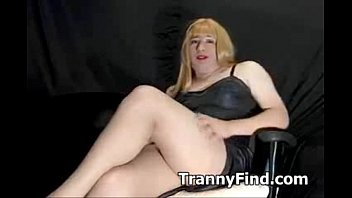 blonde crossdresser eats cum