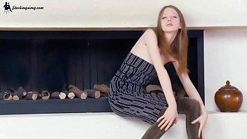 pale teen teasing in tights