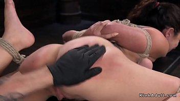 hogtied brunette gets hot ass spanked