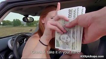 public blowjob for cash with sexy amateur european.