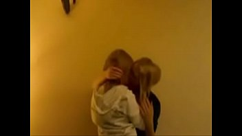 two cute drunk teens kissing at.