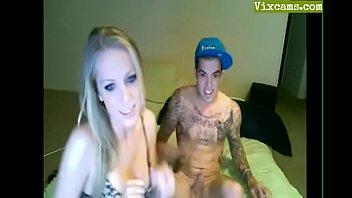 thin blonde girl deepthroats on livecam.